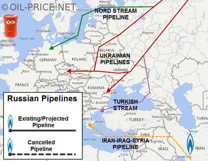 Map of Russian gas pipelines into Europe